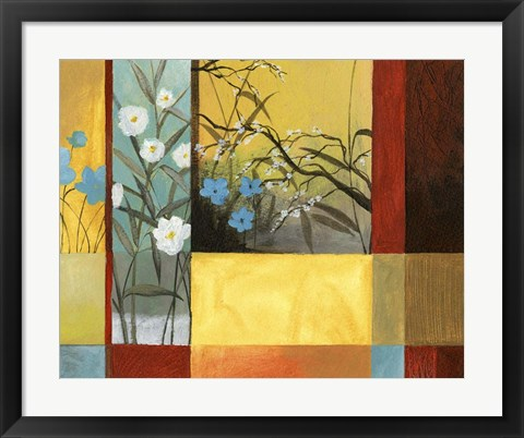 Framed Blue On Yellow & White On Blue With Burgundy Strip Print