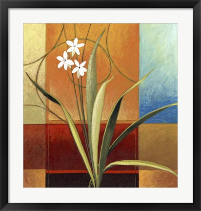 Framed Narrow Palm On Patches Print