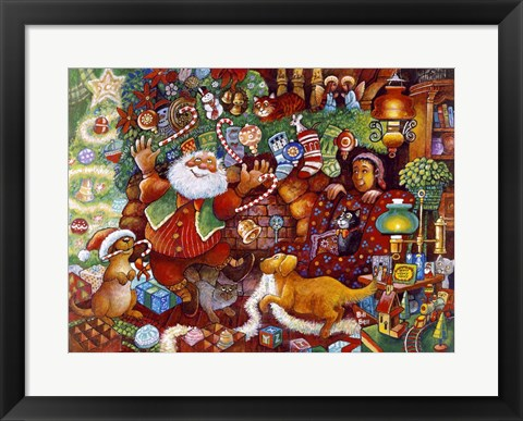 Framed Santa Rejoicing Print