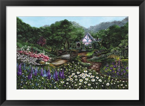 Framed Romantic Cottage Print
