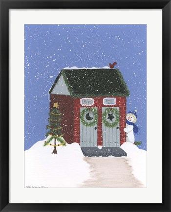 Framed Brick Outhouse Print