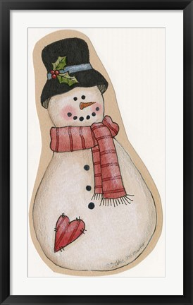 Framed Red Scarf Snowman With Black Hat Print
