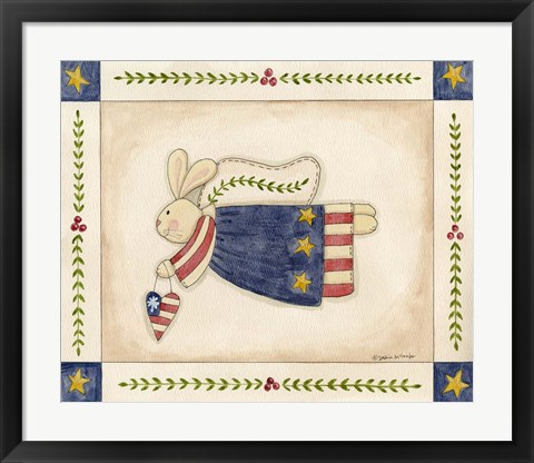 Framed Patriotic Bunny Angel With Heart Print