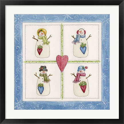 Framed Four Snowmen With Heart Pockets Print