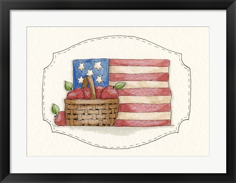 Framed Flag With Apples Print