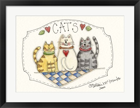 Framed Three Cats Print