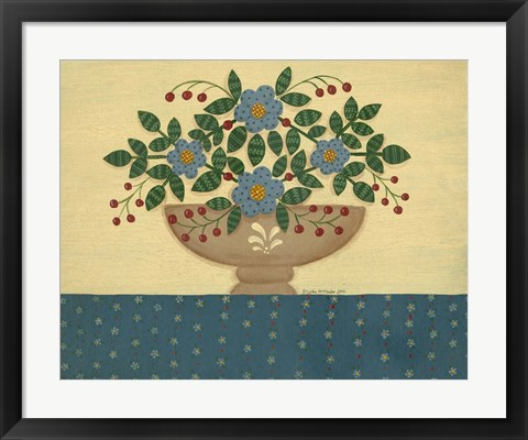 Framed Lt. Blue Flowers With Dark Blue Talecloth Print