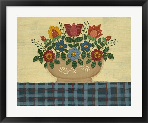 Framed Multi-Colored Flowers With Dark Blue Tablecloth Print