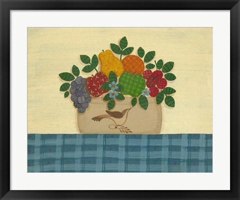 Framed Fruit With Dark & Lt. Blue Tablecloth Print