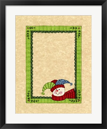 Framed Bright Snowman With Green Border Print
