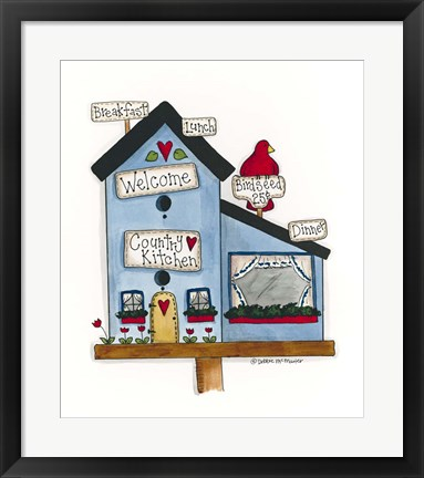 Framed Country Kitchen Birdhouse Print