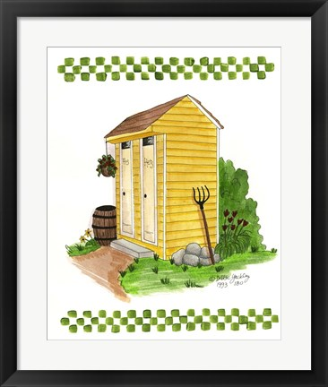 Framed Yellow Double Outhouse Print