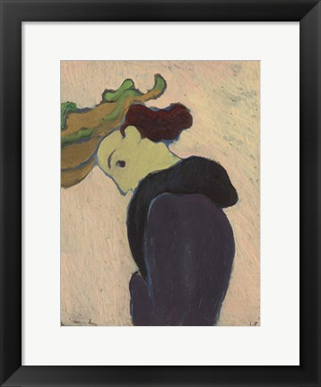 Framed Women Seen in Profile with a Green Hat, c.  1890-189 Print