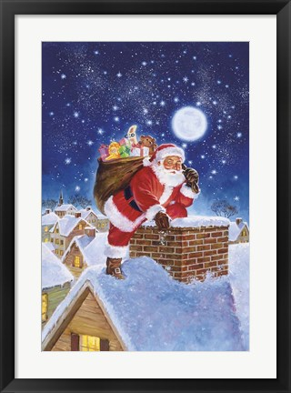 Framed Santa On Rooftop Print