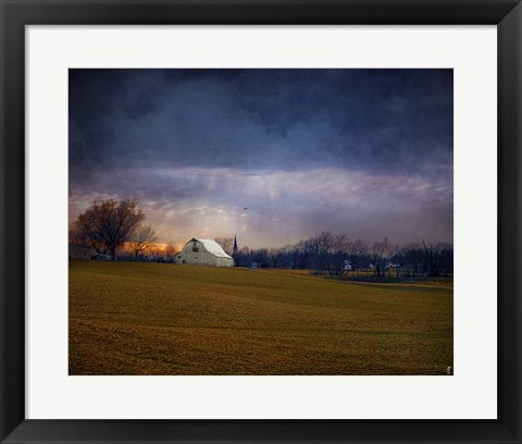 Framed Missouri Barn At Sunset Print