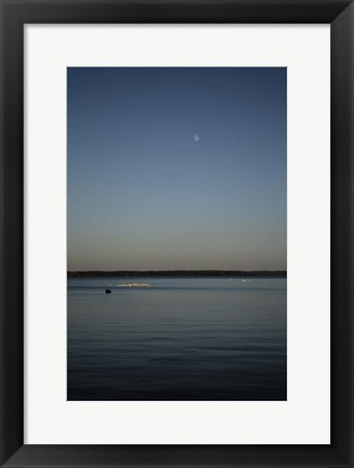 Framed Moon Rising Over Reelfoot Lake Print