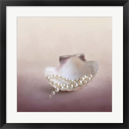 Framed Pearls On A Shell Print