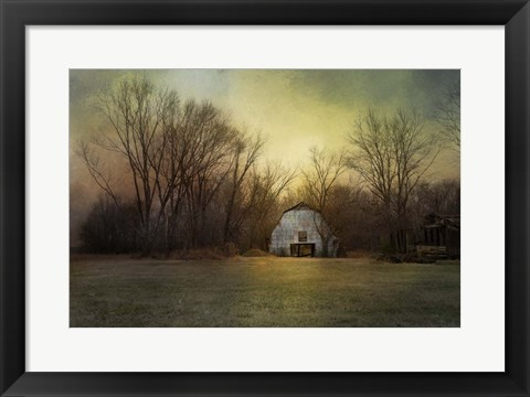 Framed Blue Barn At Sunrise Print