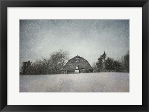 Framed Snowing At The Old Barn Print