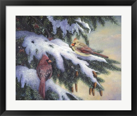 Framed Winter Cardinals Print