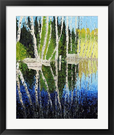 Framed Birch Tree Reflections Print