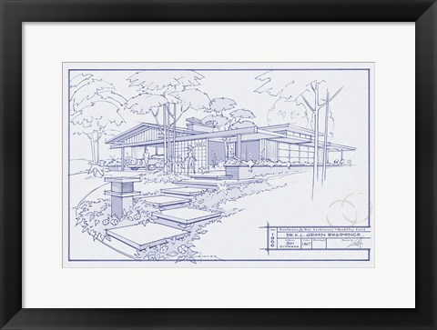 301 Cypress Dr Blueprint Art By Larry Hunter At