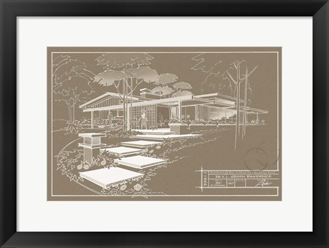 Framed 301 Cypress Dr. Sepia - Inverse Print