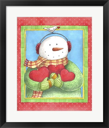 Framed Snowman Give Heart Print