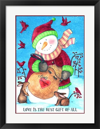 Framed Loves Bird Seeds Snowman With Border Print