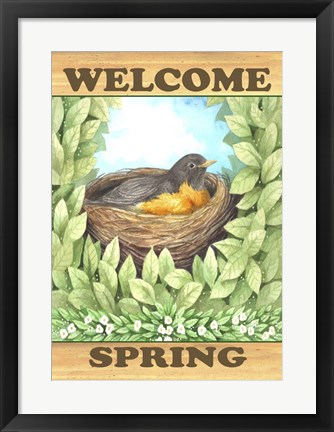 Framed Welcome Spring Robin Print
