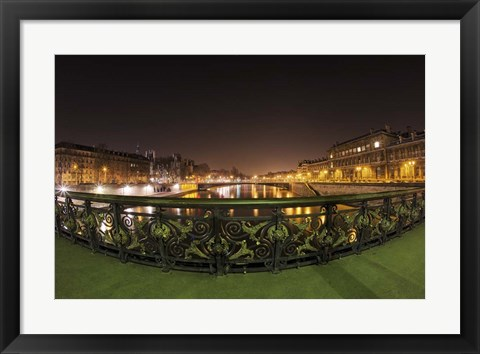 Framed Paris Night Bridge I Print