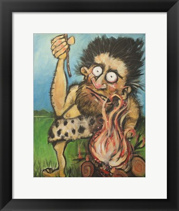 Framed Caveman Fire Print