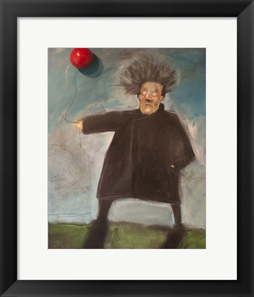 Framed Man With A Balloon Over There Print