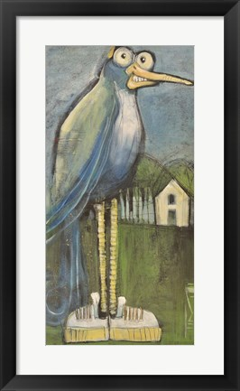 Framed Bird In Found Shoes Print