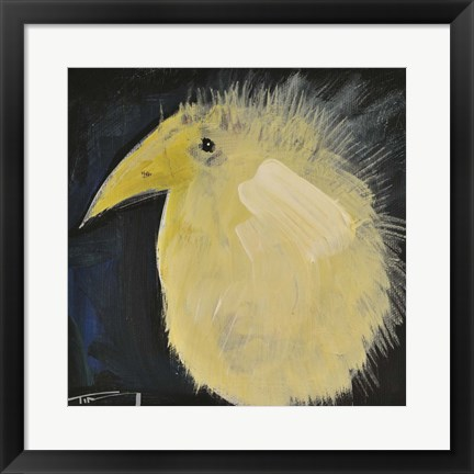 Framed Yellow Fuzzy Bird Print