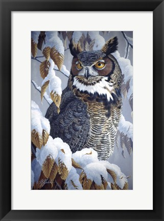 Framed Winter Watch - Great Horned Owl Print