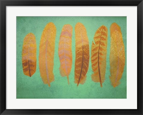 Framed Turquoise & Gold Feather 1 Print