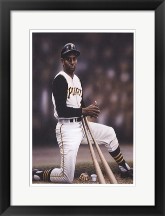 Framed Roberto Clemente on Deck Print