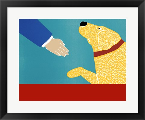 Framed Greeting Visitors Good Dog Banner Yellow Print