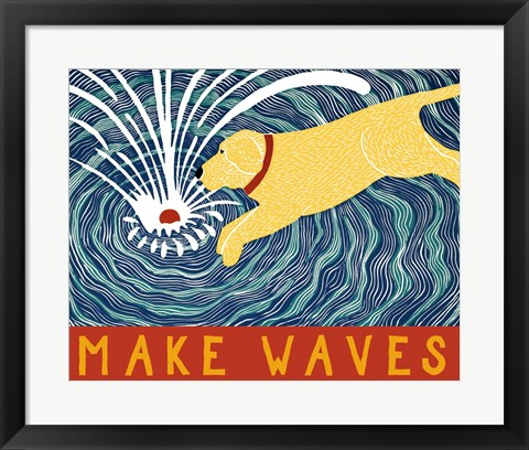 Framed Make Waves Yellow Wbanner Print