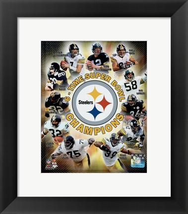 Framed Pittsburgh Steelers 6-Time Super Bowl Champions Composite Print