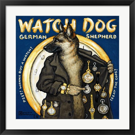 Framed Watch Dog Print