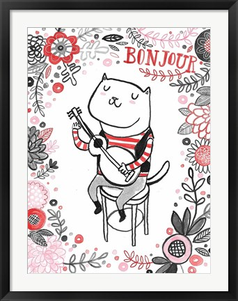Framed Cats of Paris - Musician Print
