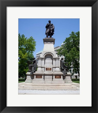 Framed Governor Thomas A. Hendricks Monument at Indiana State Capitol Building Print