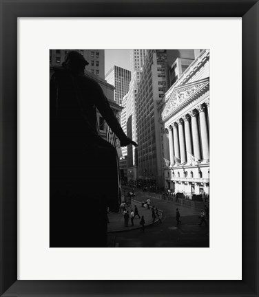 Framed Silhouette of George Washington Statue, Manhattan, New York City Print
