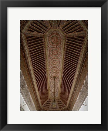 Framed Highly Decorated Roof of Palais Bahia, Marrakesh, Morocco Print