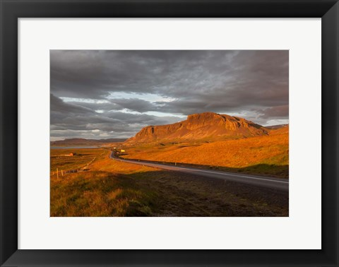 Framed Sunset over Road, Borgarfjordur, Iceland Print