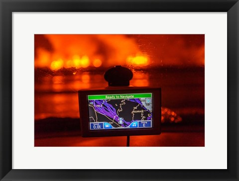Framed GPS with the Holuhraun Fissure Eruption, Northern Iceland Print