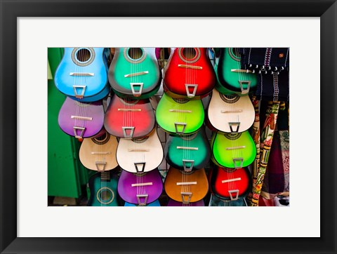 Framed Colorful Guitars, Downtown Los Angeles Print