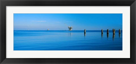 Framed Oil Rig in the Gulf Shores, Baldwin County, Alabama Print
